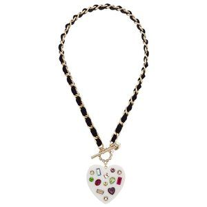 Betsey Johnson White New Heart Necklace